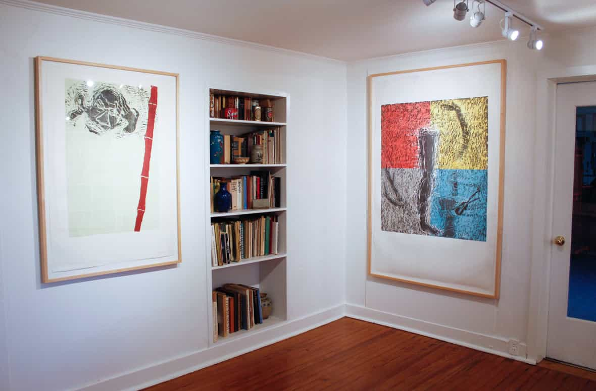 Gallery view of framed prints Red Bamboo and Blue Violin by Susan Rothenberg.